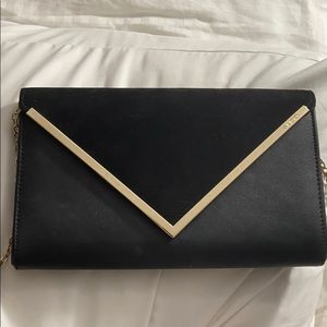 Aldo black suede/ leather clutch